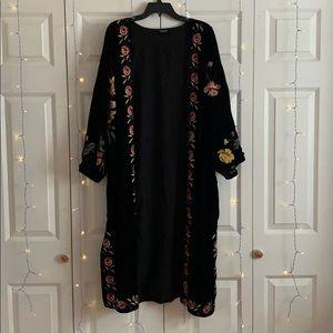 Topshop Floral Embroidered Velvet Kimono